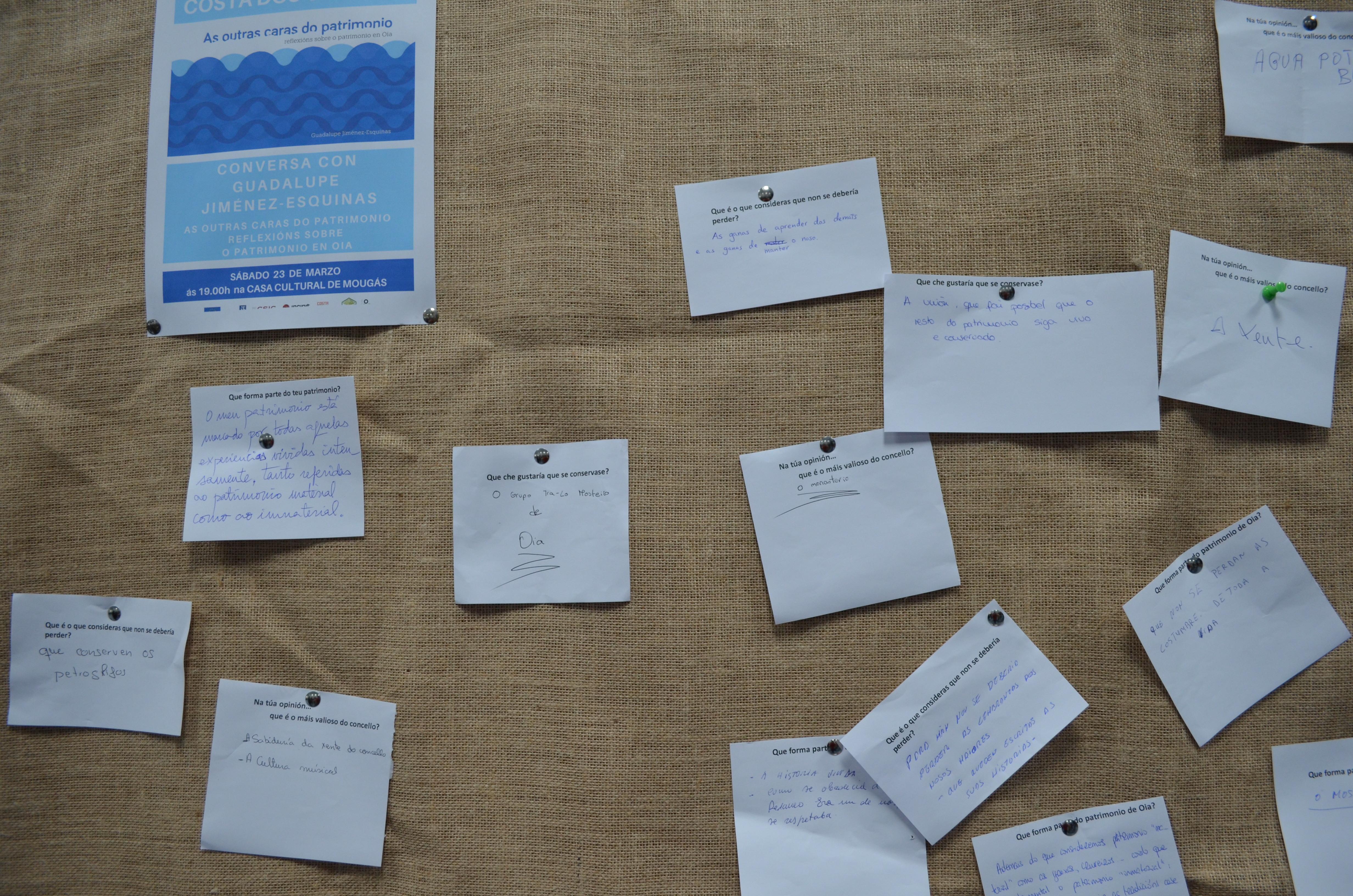 Algunhas das achegas das persoas asistentes sobre o seu concepto de patrimonio.